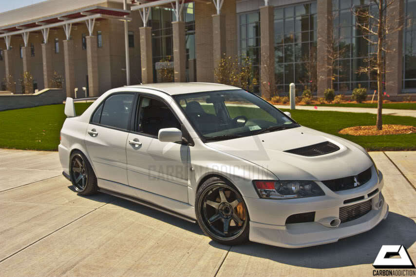 mitsubishi evo 9 greddy style carbon front lip carbon addiction. Black Bedroom Furniture Sets. Home Design Ideas