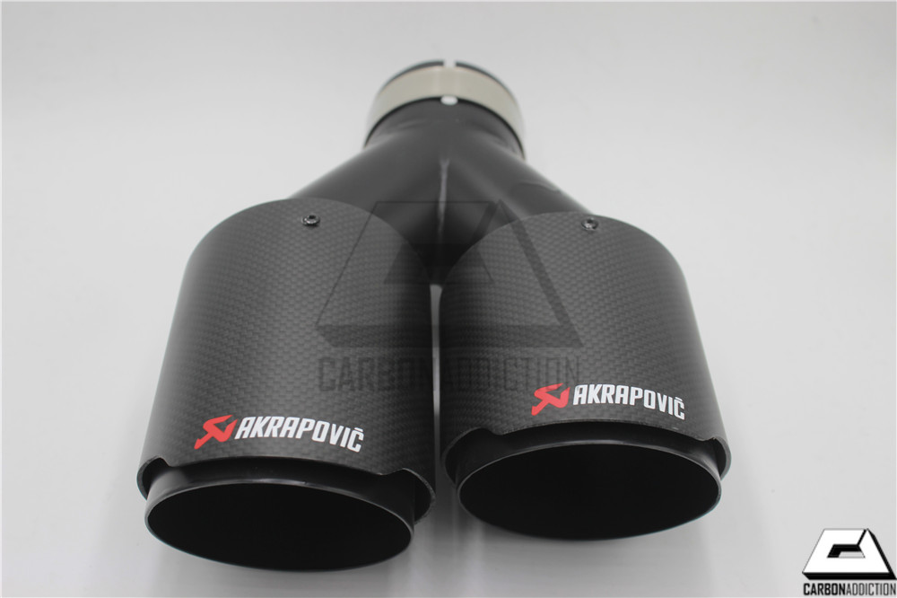 Akrapovic Style Carbon Black Dual Exhaust Tips Carbon